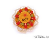 Felted Brooch: Fall Spirit,Embroidered brooche. Flower in a sun embroidered felted brooch.
