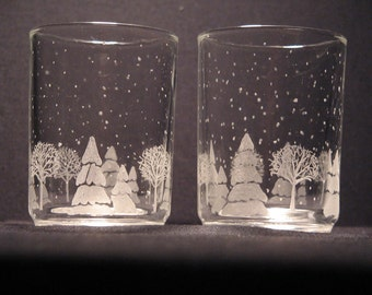 candle votive holder christmas scene etched glass FREE SHIPPING