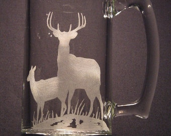One wildlife engraved glass Deer design beer mug