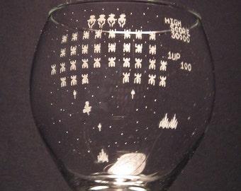 Galaga Atari inspired Glass