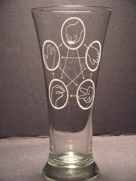 "Rock Paper Scissors Lizard Spock Big Bang Theory inspired Beer Pilsner Engraved Glass ""PICK YOUR STYLE"""
