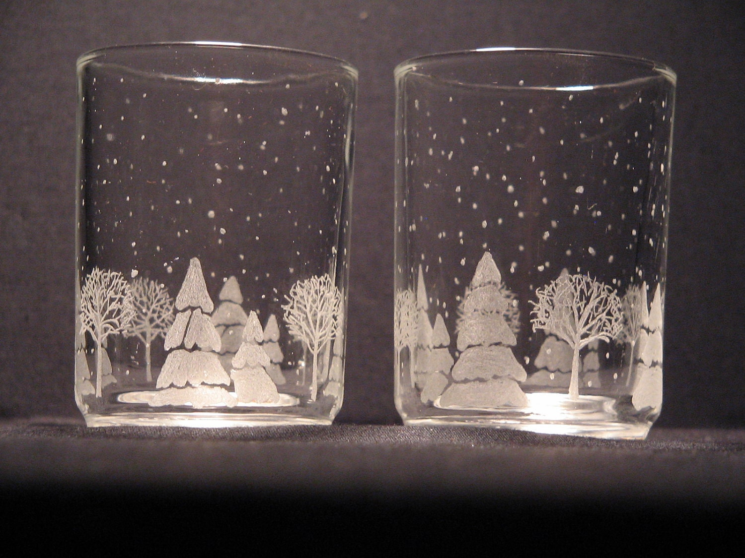 Candle Votive Holder Christmas Scene Etched Glass Free