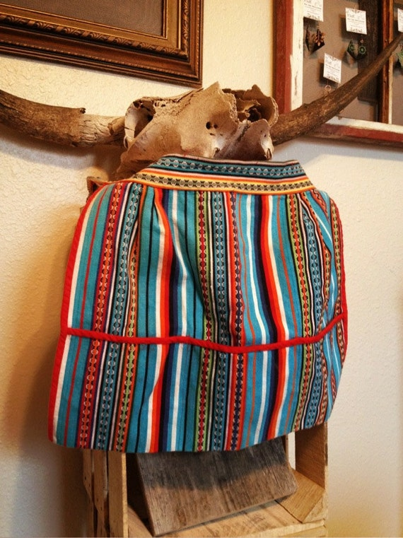 Adorable Southwestern, Mexican or Kilim Women's Colorful Tie Apron with Pockets