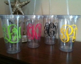 Monogrammed Tumbler with Straw