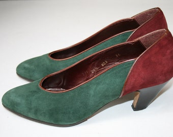 Stunning dark green and maroon suede 1980s pointy shoes pumps with leather trim