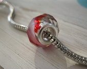 Red White Clear Swirl Crystal Faceted Large Hole Bead fits Pandora, Trollbeads, Chamilia, Biagi