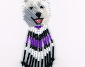 Hand Beaded  Laughing White wolf, Husky dog earrings with Purple & black in fringe