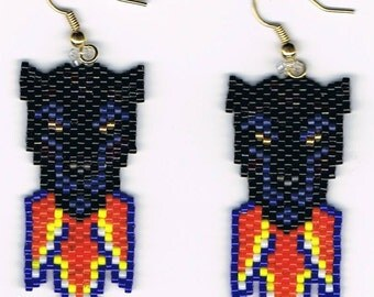 Hand Beaded Black Panther with Flame earrings