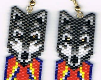Hand Beaded Gray wolf with flames earrings