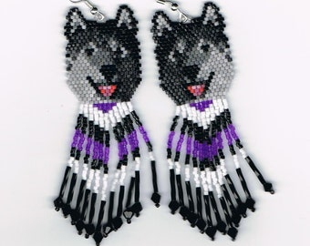 15 Hand Beaded  Laughing Black wolf, Alaskan Malamute, Husky dog earrings with Purple & black in fringe