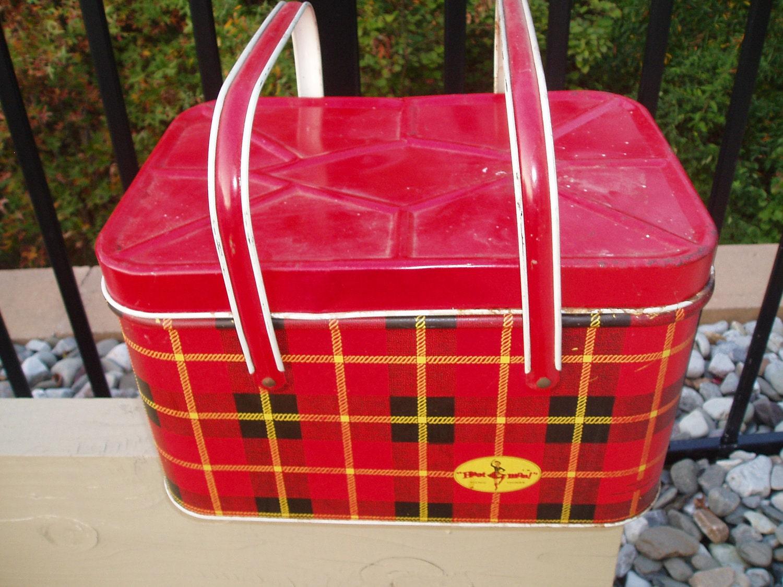 Vintage Tin Picnic Basket Hoot Mon Red Tartan Plaid