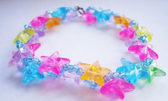 Rainbow Star Bracelet - beaded
