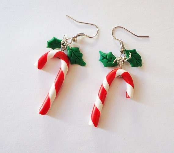 CHRISTMAS EARRINGS Candy Canes and Mistletoes by FrozenCrafts