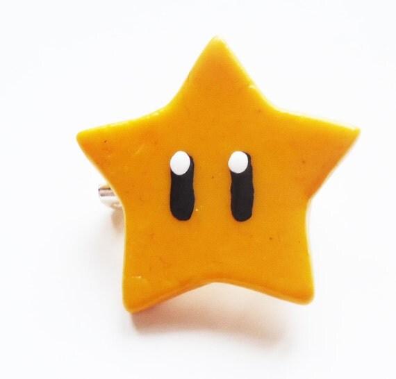 Super Mario INVINCIBILITY STAR pin-back button