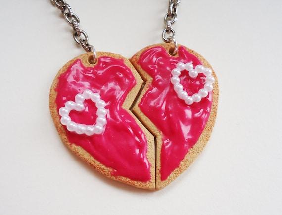 Pink Heart Cookie Keychain - double BFF or boyfriend and girlfriend keychain