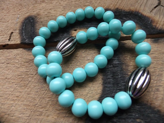 Set of 2 Turquoise Blue beaded Stretch bracelets