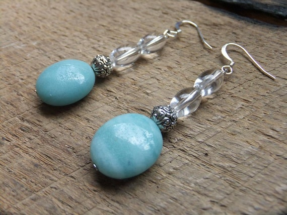 Soft Blue, Silver and Clear Beaded Dangle Earrings
