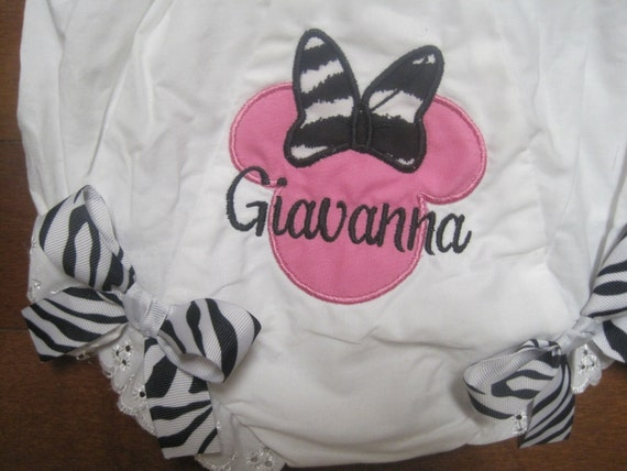 Personalized Hot pink & Zebra Minnie Mouse Bloomer