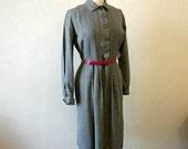 Vintage 40s Dress - Black and White - Secretary Dress - Medium
