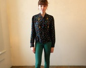 Vintage Silk Blouse / Secretary Shirt Black Hipster / 80s Medium