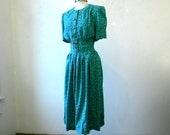 40s Style Day Dress / Aqua Green / Hourglass / Secretary Dress / Medium