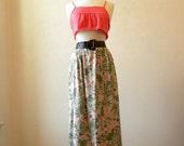 High Waisted Long Skirt / 80s Floral / Spring Fashion / Medium