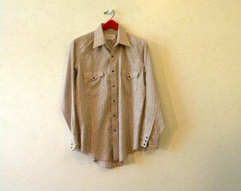 Mens Western Shirt with Purple Snaps - Mint Condition - 1970s - Medium