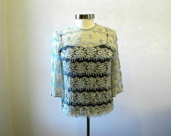 Rare Vintage Beaded Blouse Lace / Cream Ice Blue / Sequins / M
