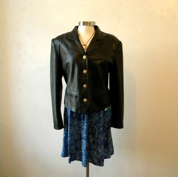RESERVED Leather Jacket / 80s Black Brown Punk / Lord and Taylor