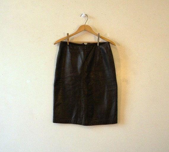 vintage leather skirt 80s espresso brown by