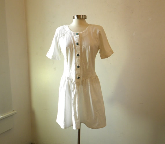 80s White Cotton Dress / Dropped Waist Turquoise Buttons / L XL