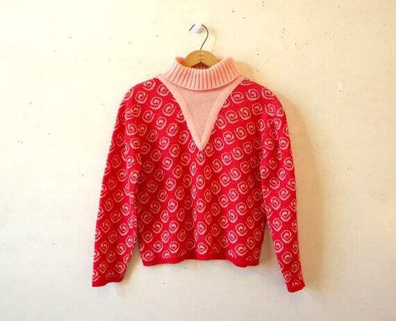 60s Pink Hipster Sweater / Turtleneck Jumper / Swirl Print / M