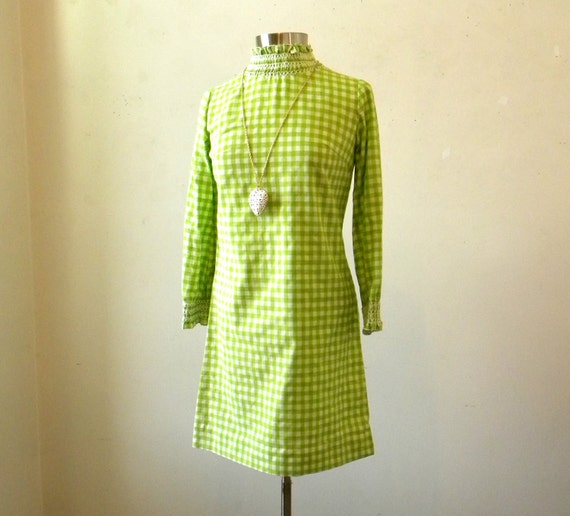 60s Mod Dress / Green Checked Long Sleeved Mini Dress / M