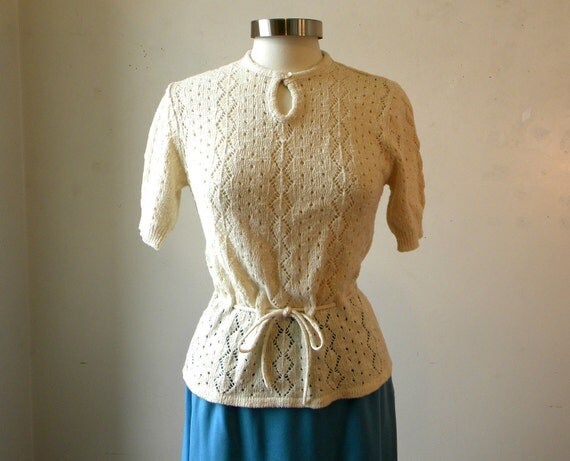 Vintage Crochet Peplum Blouse / 70s Pointelle Sweater Small
