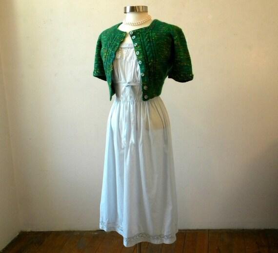 60s Slip Dress / Blue Cotton Nightgown / Peasant Dress / Sheer Summer Dress