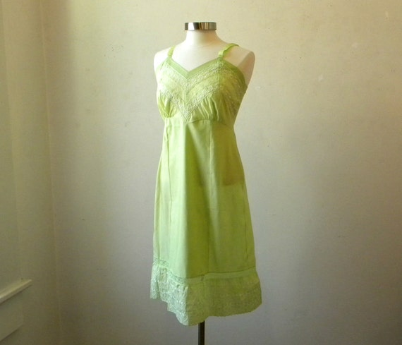 60s Vintage Slip Dress / Green Lace Slip / New Old Stock Medium
