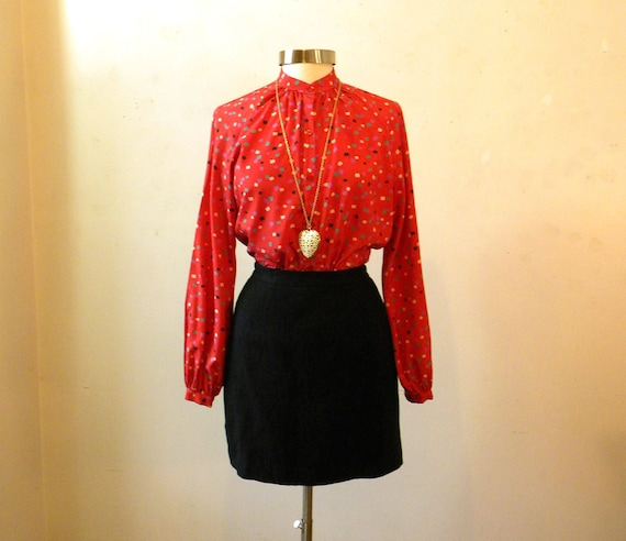 80s Secretary Blouse / Hipster Clothing / Halston Red Dots Geometric / L