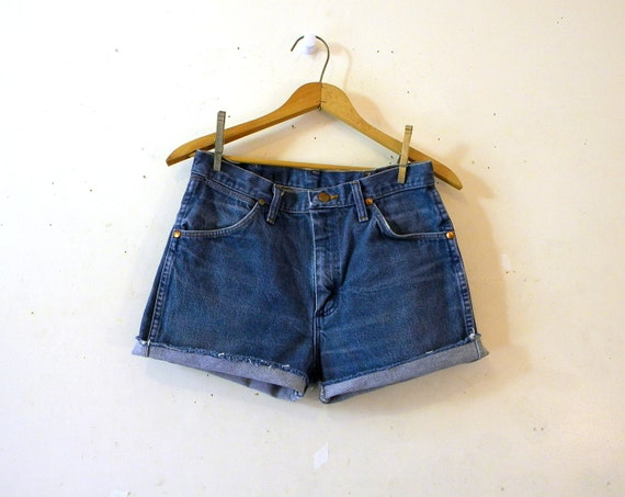 High Waisted Denim Shorts / 1980s Cutoffs Jeans Wrangler / Daisy Dukes