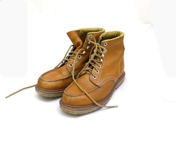 Mens Quality Vintage Work Boots / 80s 90s Heavy Leather / Size 9