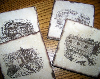 coasters, rustic, natural stone, tumbled tile -covered bridges - four seasons, set of 4 - brown
