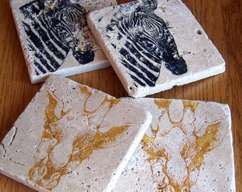 coasters, rustic, natural stone, tumbled tile, - zebra and giraffe, set of 4 -