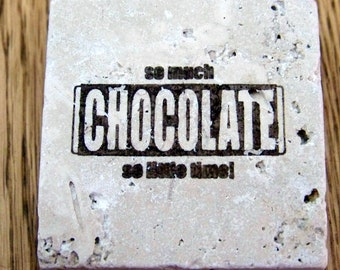 magnet, natural stone, tumbled tile  - chocolate