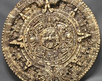 Aztec calendar etsy aztec calendar brown gold 7 inch circumference aloadofball Image collections