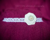 Small white flower baby headband :White rose with pearl center on a white lace headband- Newborn, Infant, Toddler, Girl