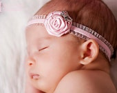 Small pink rose baby headband with rhinestone bow: Beautiful photo prop- Newborn, Infant, Toddler