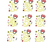 Mouse girly numbers applique designs digital instant download