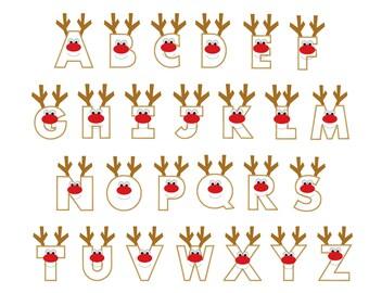 Christmas reindeer letters applique designs instant download