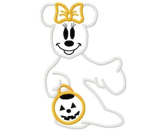 Minnie mouse halloween ghost applique design digital instant download