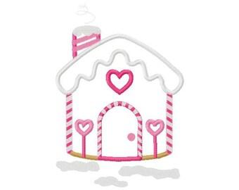 M2MG gingerbread girl house applique design digital instant download