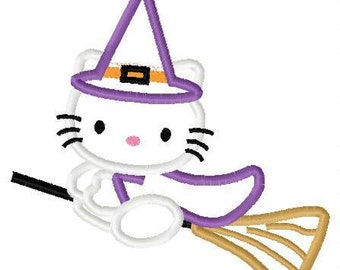 kitty witch on broom halloween applique design instant download
